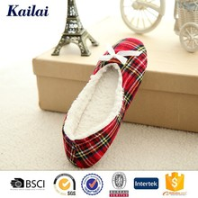 2015 Fascinating plaid fabric bowknot soft china nude ballet flats and shoes girls women' shoe