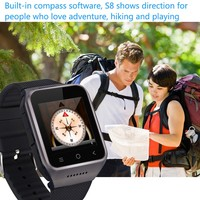 Touch Screen Unlocked Bluetooth MTK6572 Dual Core WIFI GPS 3G Android 4.4 Smart Watch S8 android watch phone with SIM Card