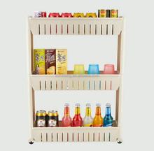 Multifunction Cracks Storage 3 Layers Plastic Kitchen Shelf with Wheel