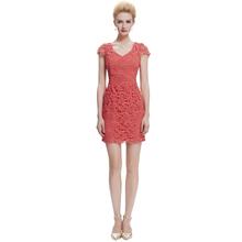 2015 New arrival Starzz Cap Sleeve V-neck Watermelon Red Lace Short Evening Dress ST000049-4