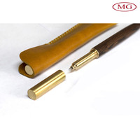 free shipping top layer cowhide leather pen case from Guangdong factory