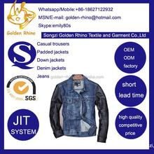 long sleeve denim jacket leather sleeve