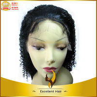 1# Color Unprocessed Brazilian Virgin Hair Middle Part Kinky Curl Lace Front Wigs With Baby Hair