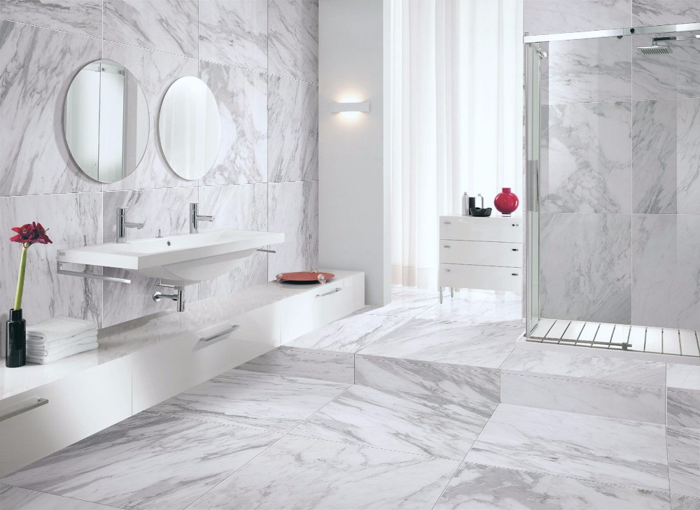 Non Slip Calacatta Marble Crystal 60x60mm Super White Porcelain