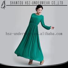 2015 New elegant islamic long sleeve maxi dress abaya wholesale fashion style beaded chiffon maxi dress islamic clothing indian