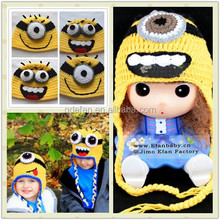 despicable me yellow cartoon characters custom crocheted beanies minion baby knitted hats patterns