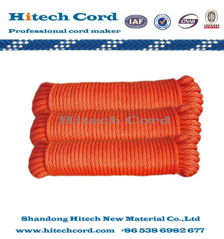 PP Mutifilament Solid Braided Rope(red