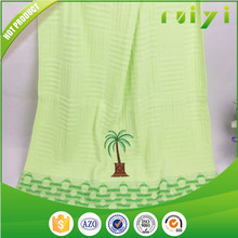 Wholesale cotton terry and solid color light green embroidery face towel