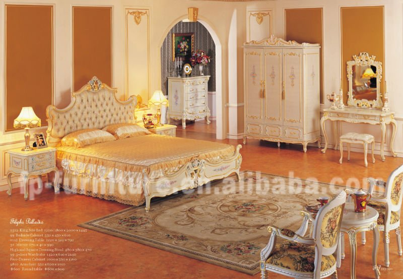 European Palace Royal Bedroom Furniture Rococo Style