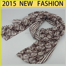 2015 new fashion polyester scarf from direct manufacturer, stock scarf ,voile scarf