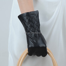 2015 Fashion Knitted Wool Lined Gloves,Lady Sheepskin Plain Leather Gloves