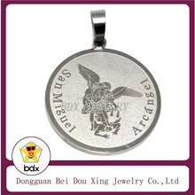 Hot Sell Christians Jewelry Stainless Steel Religious Corrosion Tone St Arch Angel Saint Michael Archangel Patron Medal Pendant