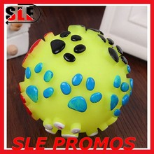 Rubber Vinyl Ball,paw sound ball pet, Pattern Squeaky Footprint Ball Toy for Dog Cat Pet