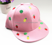 The fruit design embroidery flat brim hat for men and women street along the new tide in spring and summer baseball hat