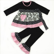 2016 girls clothes wholesale damask printed korean valentine kids outfit fashion design girls clothes