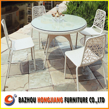 Rattan Furniture Round Glass Dining Table Set With Modern Design