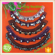 Shipping free!!!HOT sale hand embroidery designs for dress/handmade necklace/neck designs for ladies suit