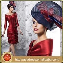 VL118 Hot&Sale Red Tassel Short Mother of The Bride Dresses 3/4 Sleeve Off The Shoulder Vestidos de Noiva