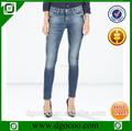 ocoo superior de diseño de moda el servicio del oem de ajuste fino bigote mono lavar dril de algodón mujeres skinny jeans