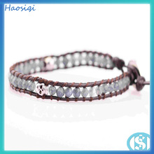 fashion jewellery top quality grey agate beads with plating skull leather bracelet