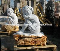 Creative garden decorational white marble stone child statues