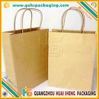 Wholesale 2015 New design custom recycle handbag shape paper gift bag, brown kraft shopping paper gift bag
