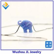fashion jewelry brand silver fashion synthetic opal blue elephant jewelry