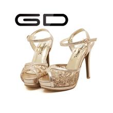 Waterproof women high heel shoes Sparkling diamond women dress High quality fashion women shoes