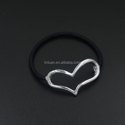 Fancy cheap custom silver heart polyester headbands for girls and woman