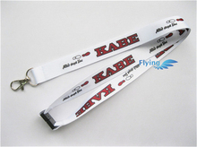 Custom high quality silk printed red flat lanyard