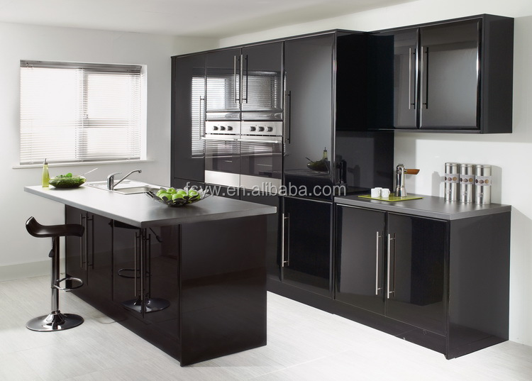 glossy black kitchen cabinet wall cheap made in china kitchen cabinet