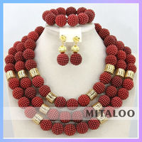 Mitaloo Heavy Indian Bridal Wedding Coral Jewelry Set For Bridal MT0001
