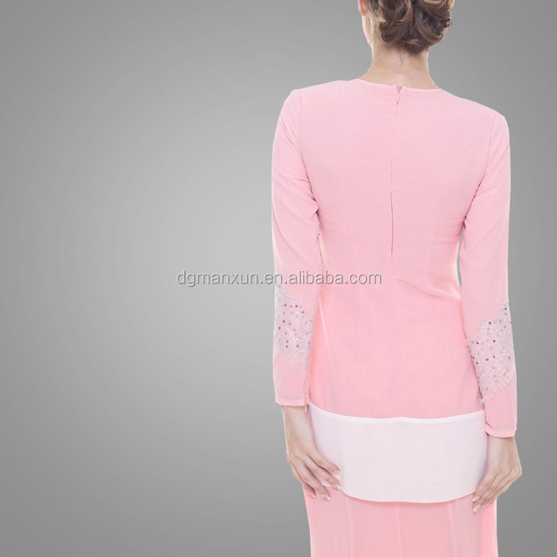 New Design Baju Kurung Kebaya Pink Elegant High Quality Baju Kurung Peplum Malaysia Dubai Clothing Abaya Baju For Women (4).jpg