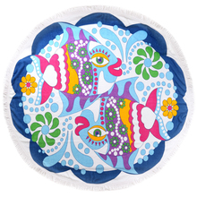 cotton yard dyed reactive printing round beach towels with white tassels can be customized