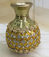 Gold ceramic antique brass flower floor vase with diamond&glass for wedding decoration