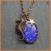 NC1291 Moon dust purple stone sea horse charm mood necklace
