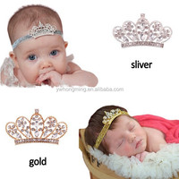 Silver/gold crystal rhinestone crown tiara headband infant baby elastic hair band baby hair accessories