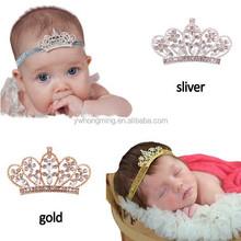 Silver/gold crystal rhinestone crown tiara headband infant baby elastic hair band baby hair accessories