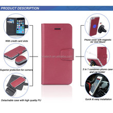 New design 3 in detachable leather cell phone case for apple iphone6 plus