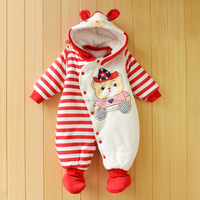 Unisex Baby Red Stripe Winter Romper Warm Jusmpsuits Soft Bodysuit with Cap