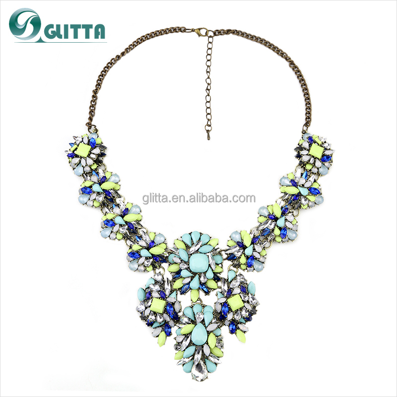 High end fashion jewelry necklace bohemian handmade resin for High end fashion jewelry