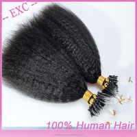 Kinky Straight Micro Ring Loop Beads Tipped Remy Human Hair Extensions 0.9g/s