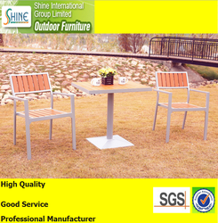 Outdoor furniture teak with aluminum chairs with table set (2+1)
