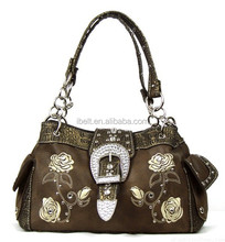 BROWN WESTERN COWGIRL BLING RHINESTONE BUCKLE FLOWER HANDBAG