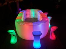 Mobiliario iluminado / control remoto muebles llevado cambio del color del led redonda barra de bar