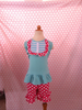 2015 New Fashion Baby Girls Remake Outfits For Adorable Blue Top With Bib Clothing In Solid Color Top With Polka Dots Shorts Set