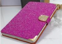 2014 Big Discount glitter diamond wake sleep leather case for ipad air