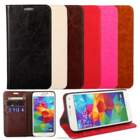 2015 China New cover Crazy horse genuine leather For samsung Galaxy S5 leather case with many colors