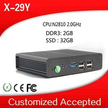 Window XP Or Vista Or Embedded Audio Pc Share Pc Nettop Zero Client X-29y N2810 2.0GHZ Dual Core 2gb Ram 32g SSD
