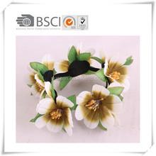 Beauty Flower Bun Garland Hair Band Floral Hair Crown Scrunchie Top Knot Elastic